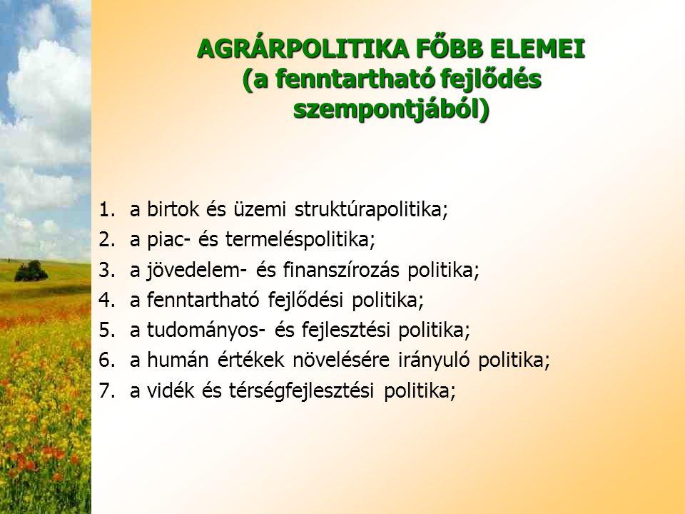 AGRÁRPOLITIKA FŐBB ELEMEI (a fenntartható fejlődés szempontjából)