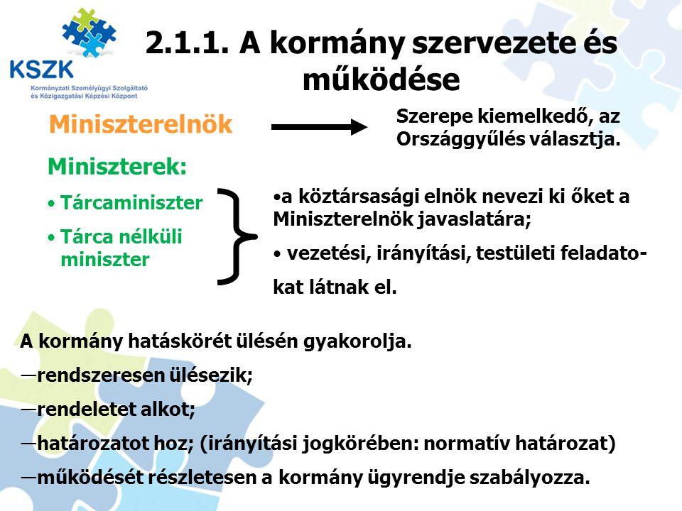 2.1.1. A kormány szervezete és működése