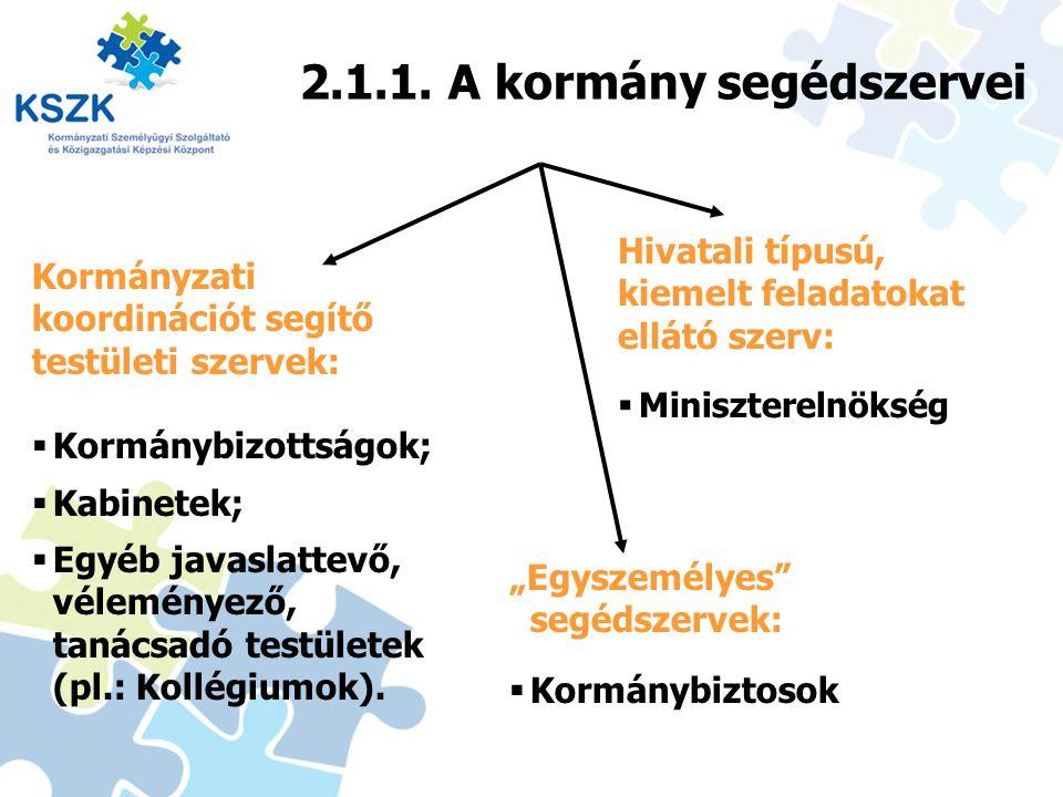 2.1.1. A kormány segédszervei
