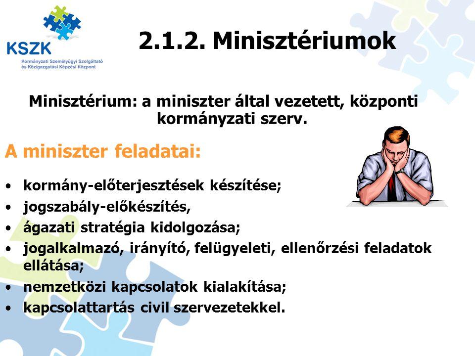 Minisztérium: a miniszter által vezetett, központi kormányzati szerv.