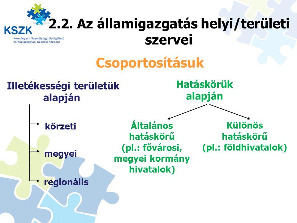 2.2. Az államigazgatás helyi/területi szervei