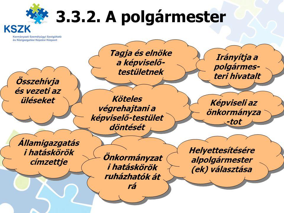 3.3.2. A polgármester Tagja és elnöke a képviselő-testületnek
