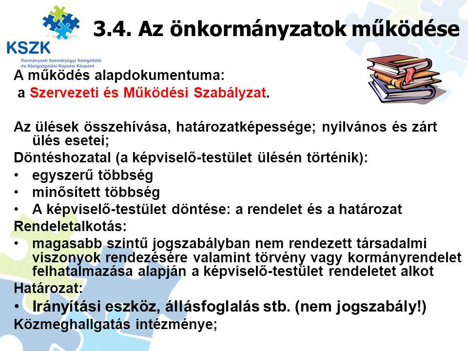 3.4. Az önkormányzatok működése