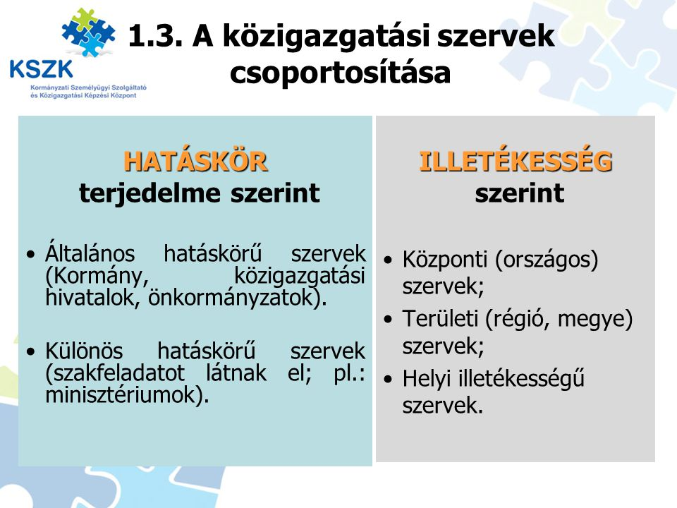1.3. A közigazgatási szervek csoportosítása