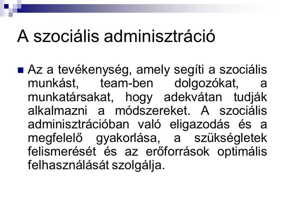 A szociális adminisztráció