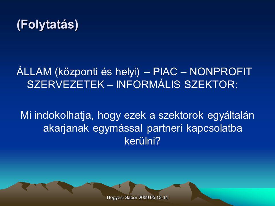 (Folytatás) ÁLLAM (központi és helyi) – PIAC – NONPROFIT SZERVEZETEK – INFORMÁLIS SZEKTOR: