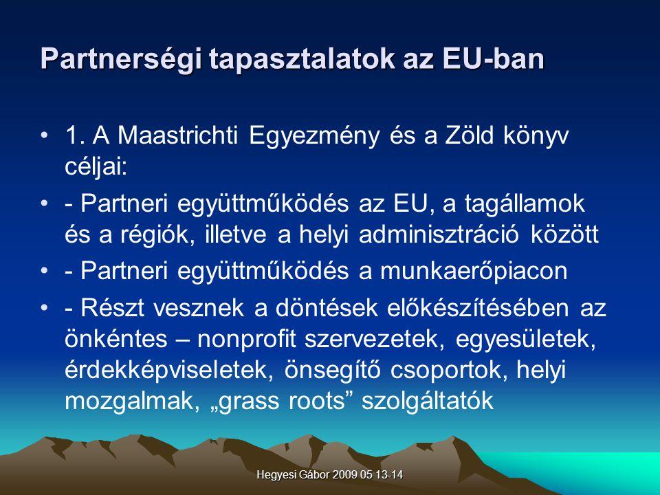 Partnerségi tapasztalatok az EU-ban