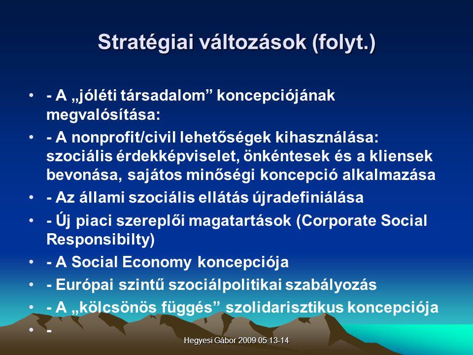 Stratégiai változások (folyt.)