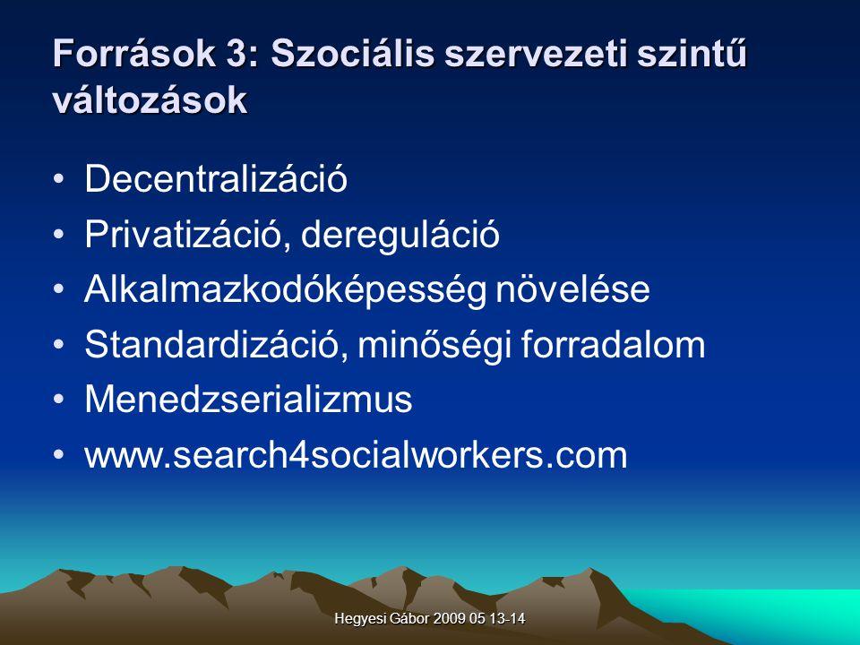Források 3: Szociális szervezeti szintű változások