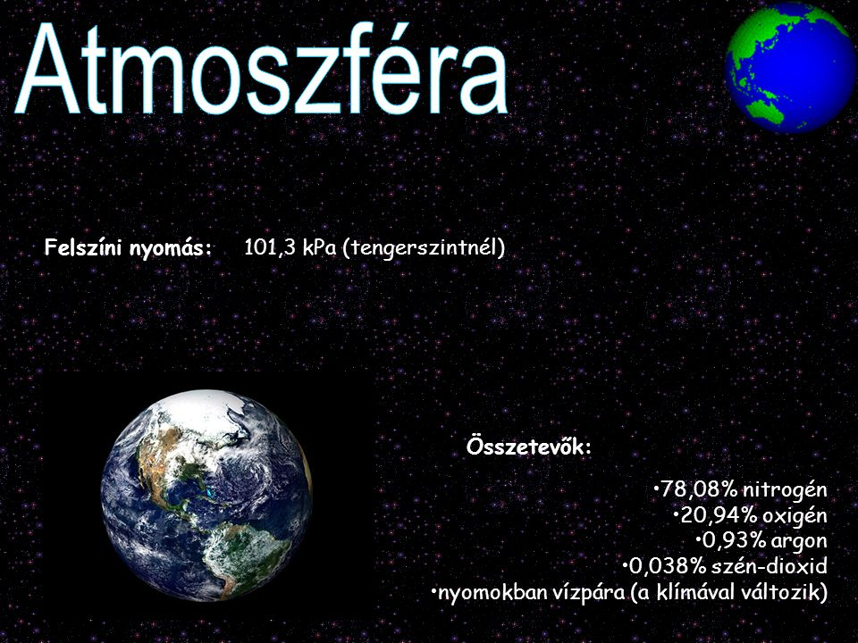 Atmoszféra Felszíni nyomás: 101,3 kPa (tengerszintnél) Összetevők: