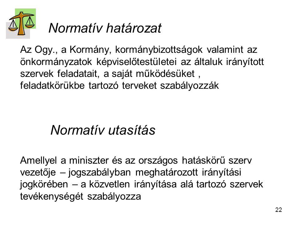 Normatív határozat Normatív utasítás