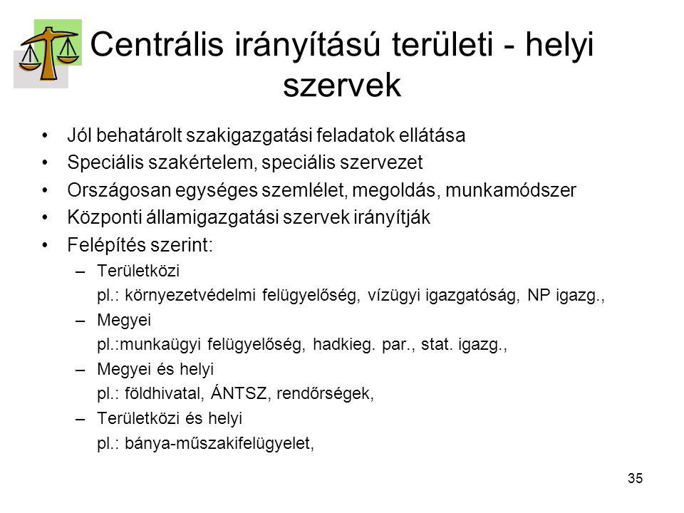 Centrális irányítású területi - helyi szervek