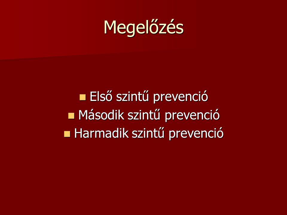 Megelőzés Első szintű prevenció Második szintű prevenció