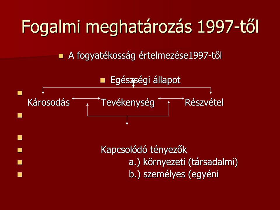 Fogalmi meghatározás 1997-től