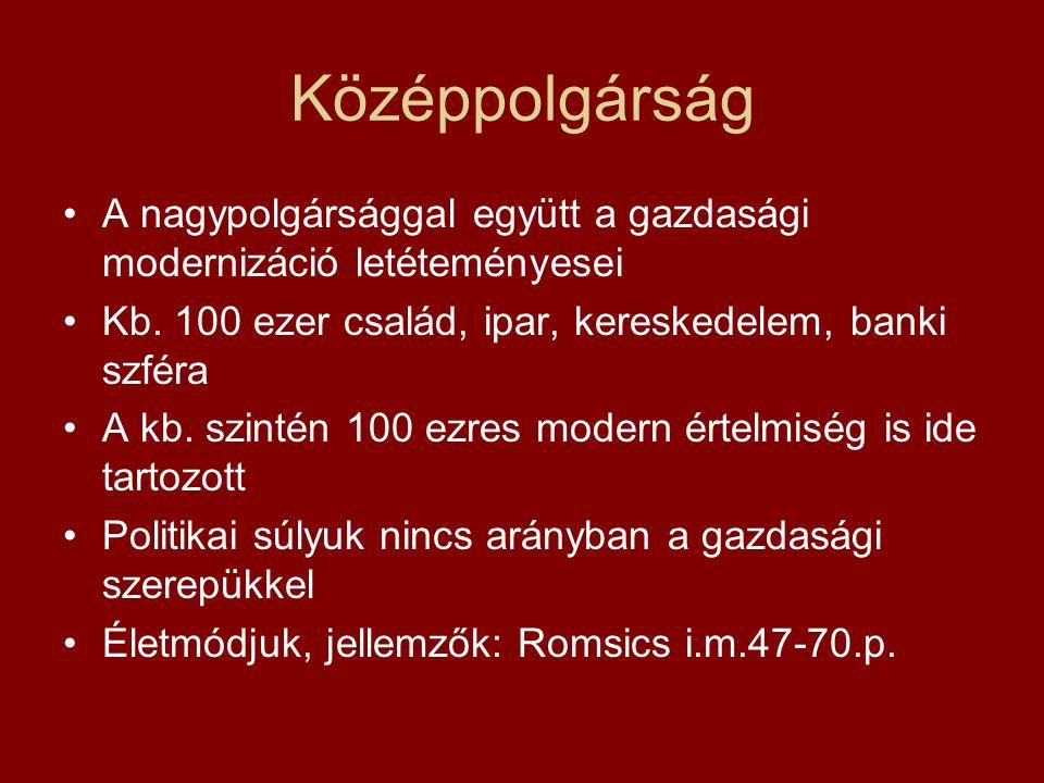 Középpolgárság A nagypolgársággal együtt a gazdasági modernizáció letéteményesei. Kb. 100 ezer család, ipar, kereskedelem, banki szféra.