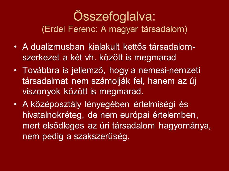 Összefoglalva: (Erdei Ferenc: A magyar társadalom)