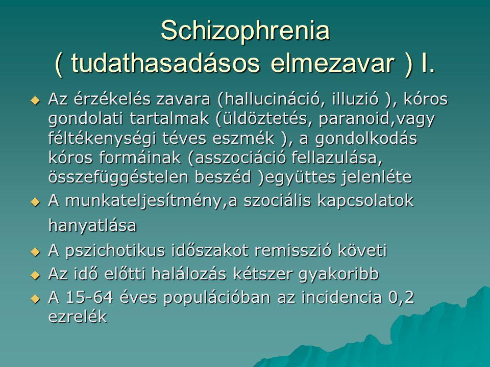 Schizophrenia ( tudathasadásos elmezavar ) I.