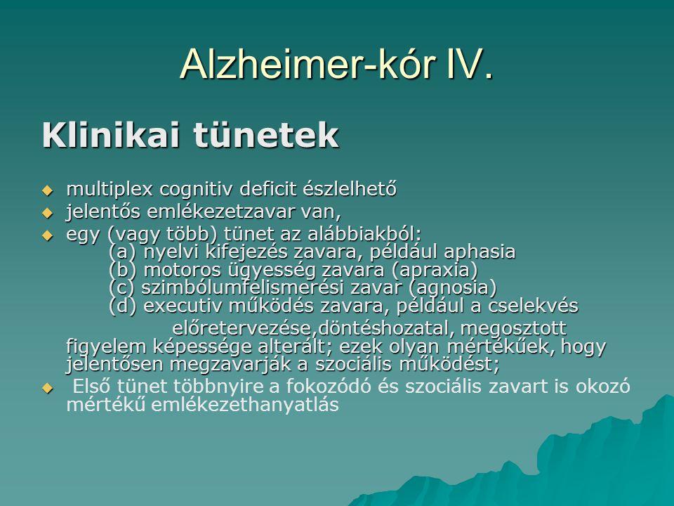 Alzheimer-kór IV. Klinikai tünetek