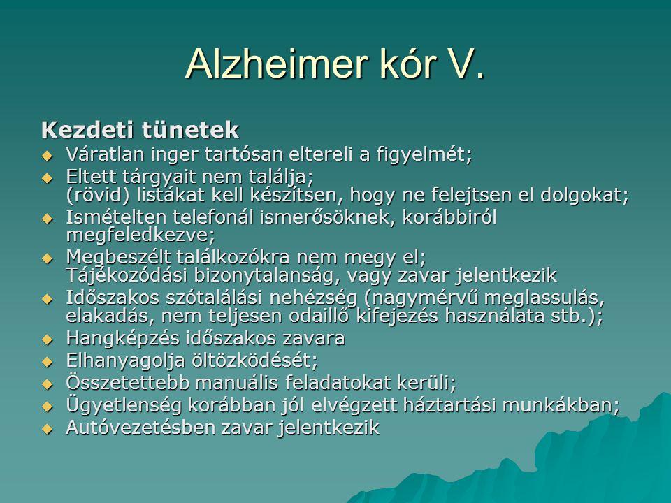 Alzheimer kór V. Kezdeti tünetek