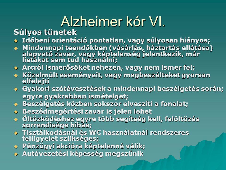 Alzheimer kór VI. Súlyos tünetek