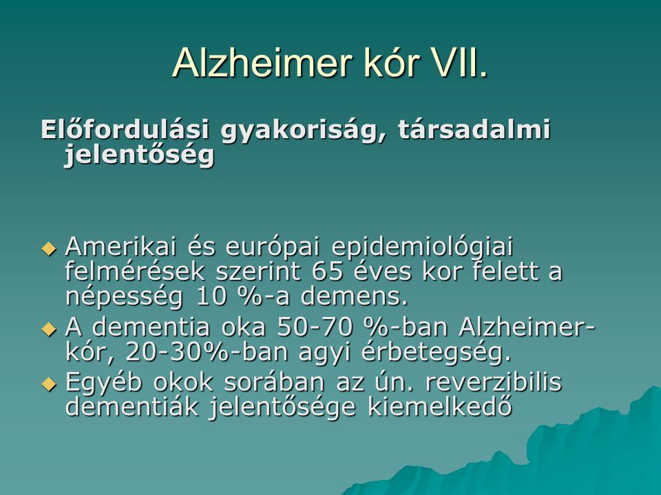 Alzheimer kór VII. Előfordulási gyakoriság, társadalmi jelentőség
