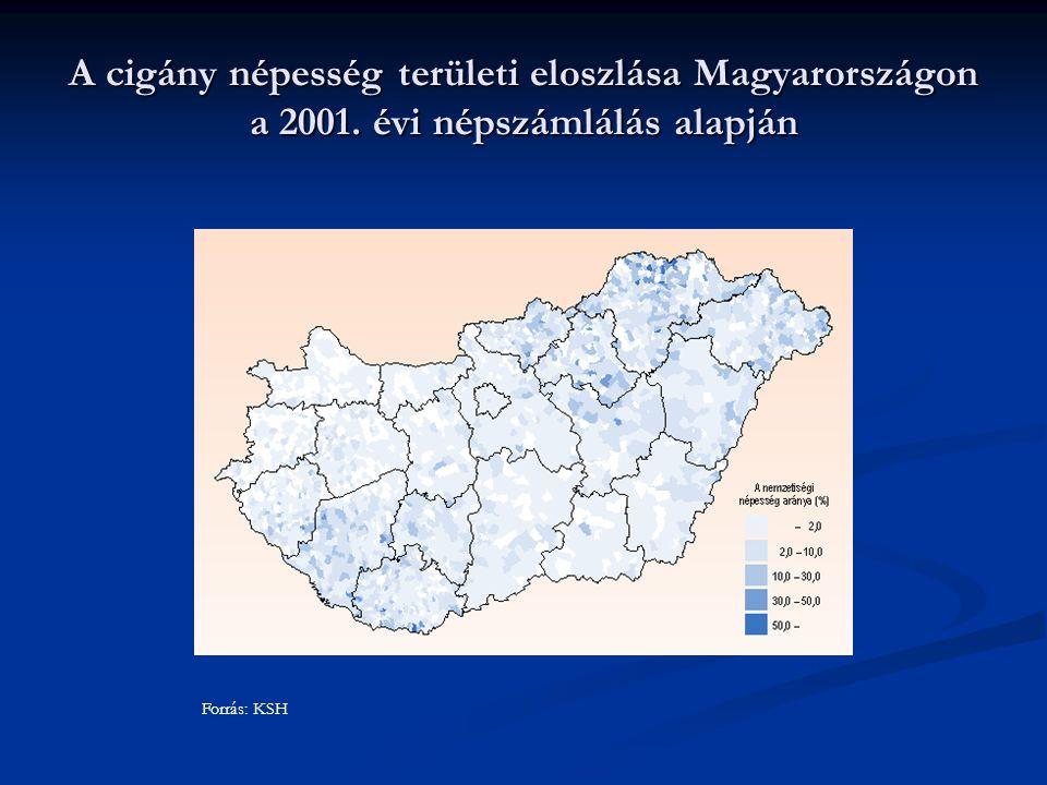 A cigány népesség területi eloszlása Magyarországon a 2001