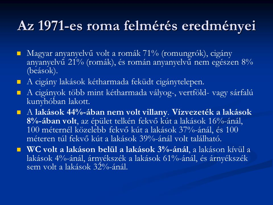 Az 1971-es roma felmérés eredményei