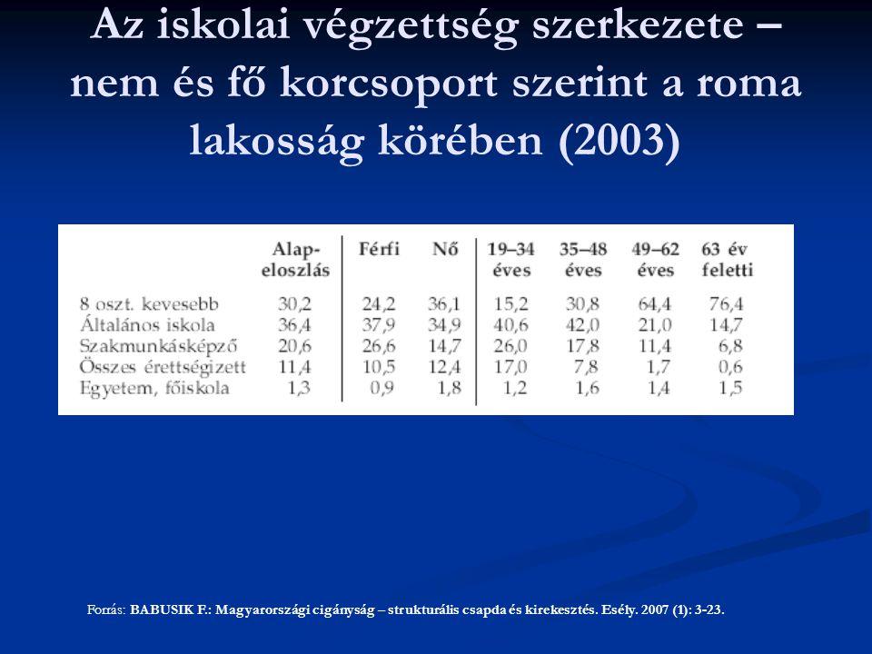 Az iskolai végzettség szerkezete – nem és fő korcsoport szerint a roma lakosság körében (2003)