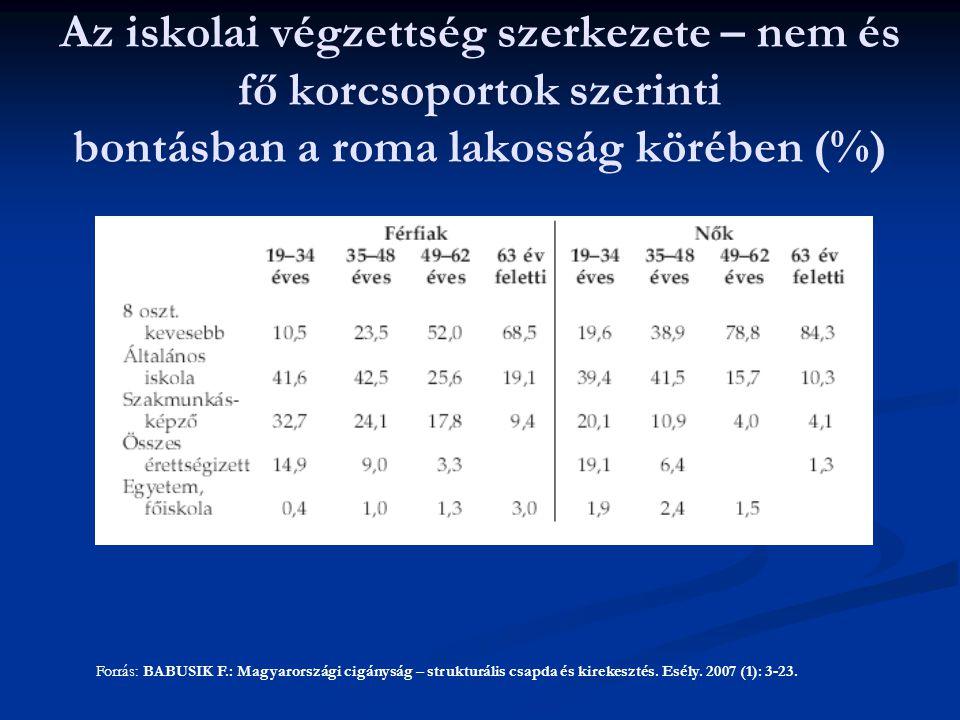 Az iskolai végzettség szerkezete – nem és fő korcsoportok szerinti bontásban a roma lakosság körében (%)