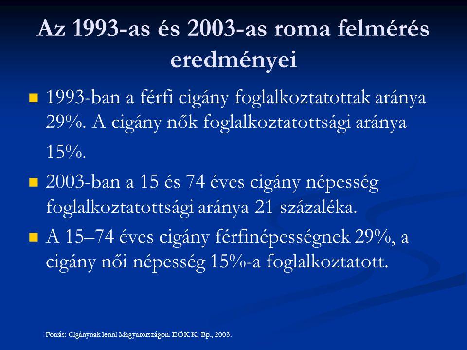 Az 1993-as és 2003-as roma felmérés eredményei