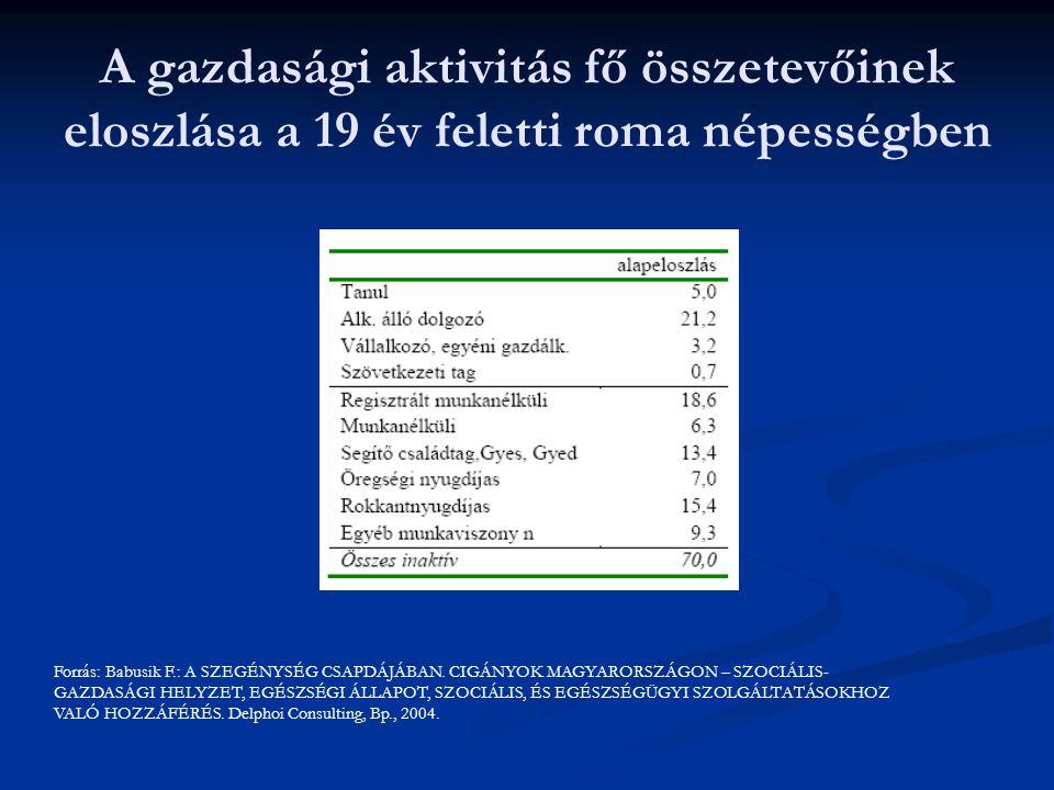 A gazdasági aktivitás fő összetevőinek eloszlása a 19 év feletti roma népességben