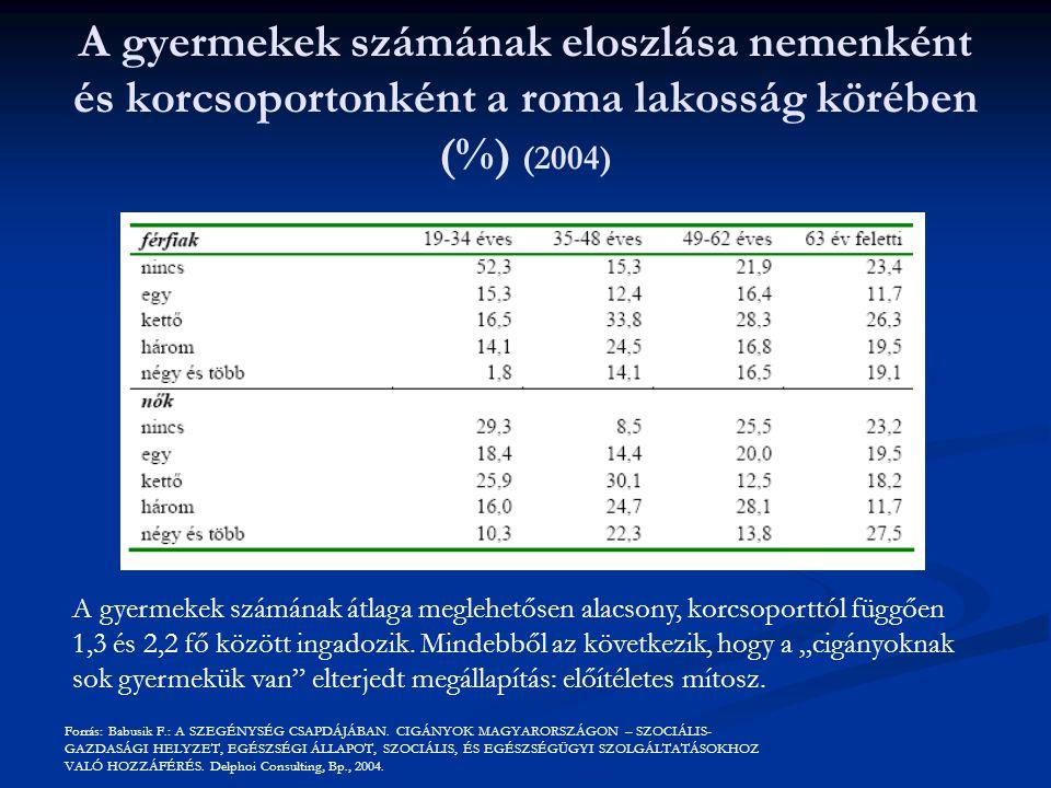 A gyermekek számának eloszlása nemenként és korcsoportonként a roma lakosság körében (%) (2004)