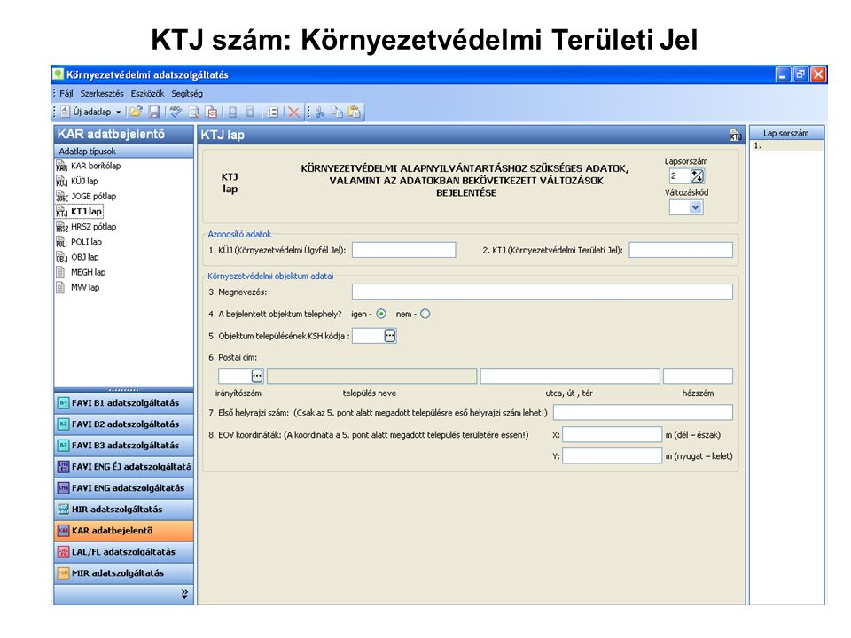 KTJ szám: Környezetvédelmi Területi Jel
