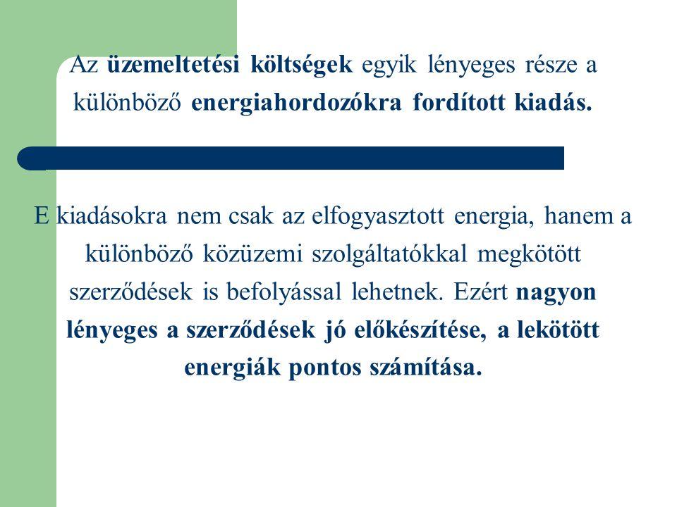 Az üzemeltetési költségek egyik lényeges része a különböző energiahordozókra fordított kiadás.