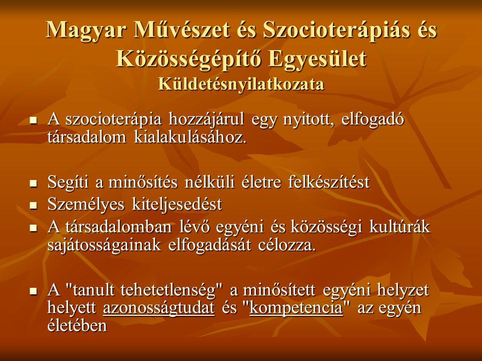 Magyar Művészet és Szocioterápiás és Közösségépítő Egyesület Küldetésnyilatkozata
