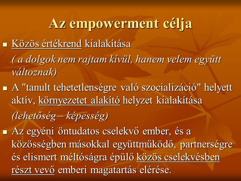Az empowerment célja Közös értékrend kialakítása