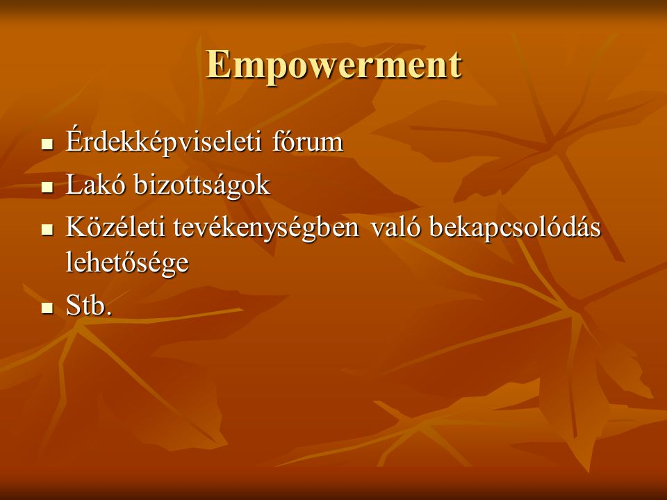Empowerment Érdekképviseleti fórum Lakó bizottságok