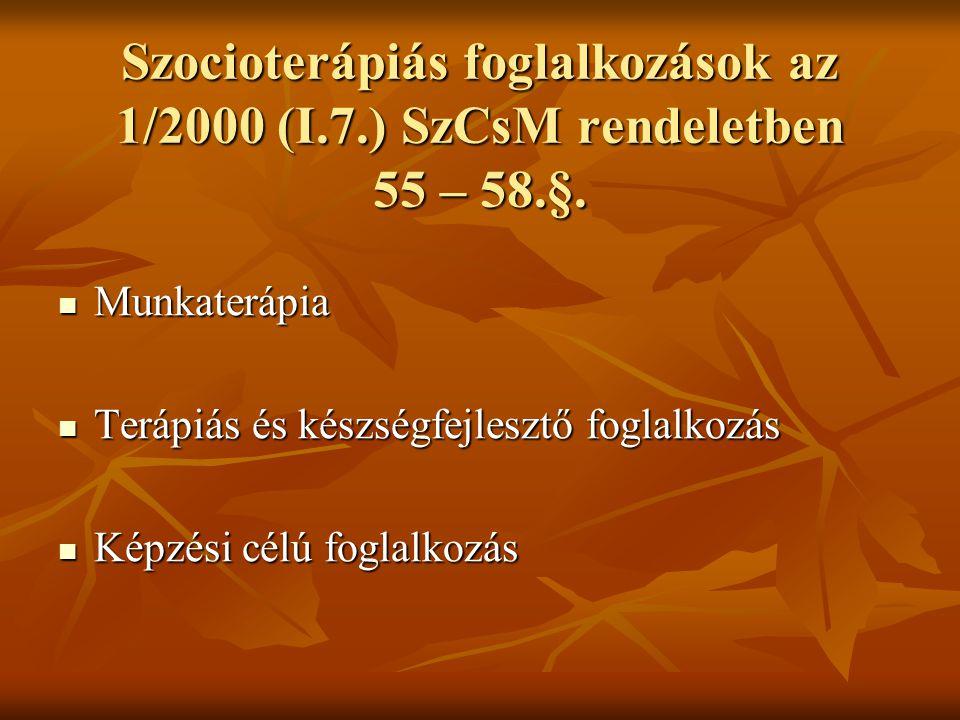 Szocioterápiás foglalkozások az 1/2000 (I. 7