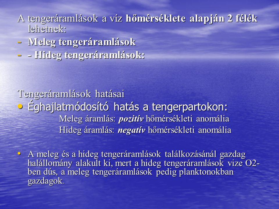 A tengeráramlások a víz hőmérséklete alapján 2 félék lehetnek: