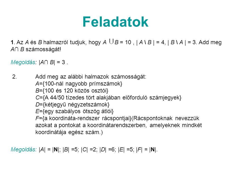 Feladatok 1. Az A és B halmazról tudjuk, hogy A B = 10 , | A \ B | = 4, | B \ A | = 3. Add meg A∩ B számosságát!