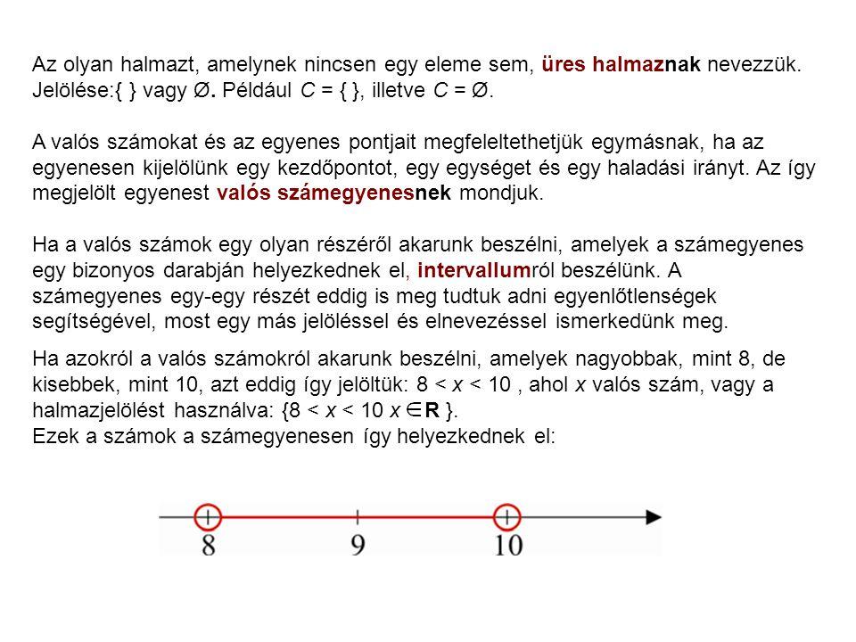 Az olyan halmazt, amelynek nincsen egy eleme sem, üres halmaznak nevezzük. Jelölése:{ } vagy Ø. Például C = { }, illetve C = Ø.