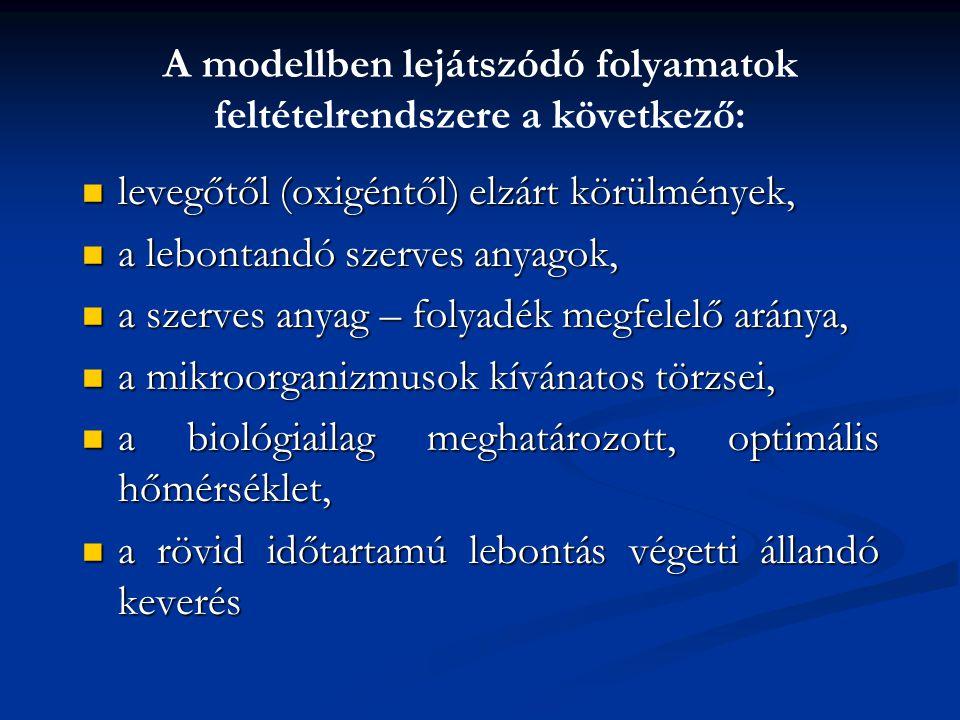 A modellben lejátszódó folyamatok feltételrendszere a következő: