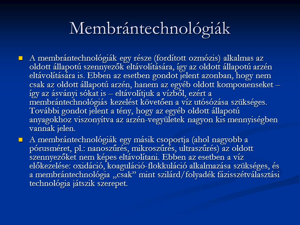 Membrántechnológiák