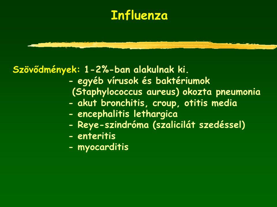 Influenza Szövődmények: 1-2%-ban alakulnak ki.