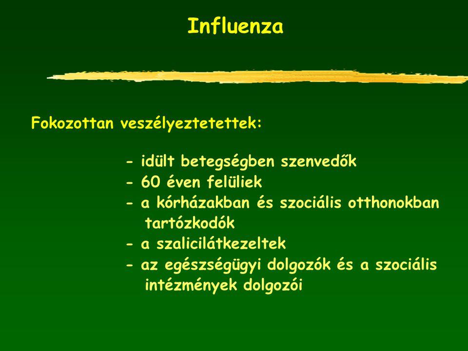 Influenza Fokozottan veszélyeztetettek: - idült betegségben szenvedők