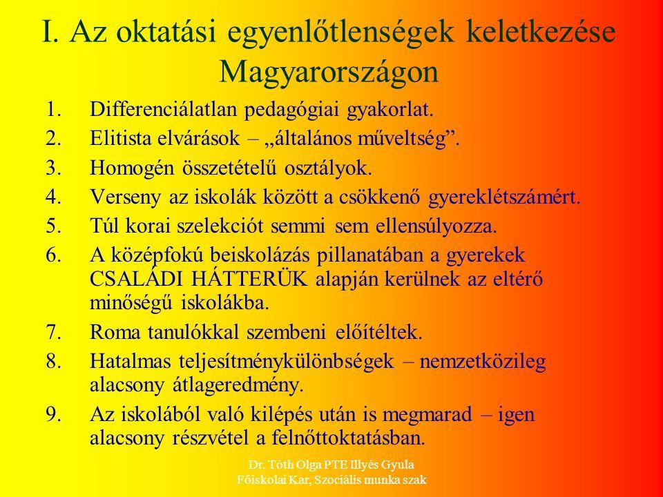 I. Az oktatási egyenlőtlenségek keletkezése Magyarországon