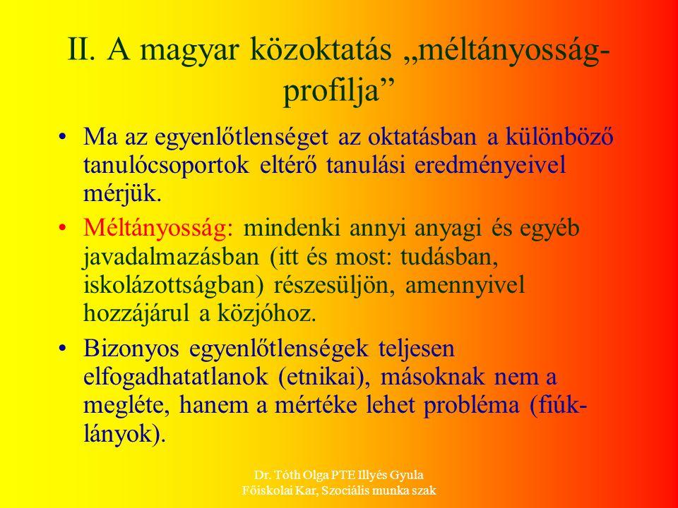 """II. A magyar közoktatás """"méltányosság-profilja"""