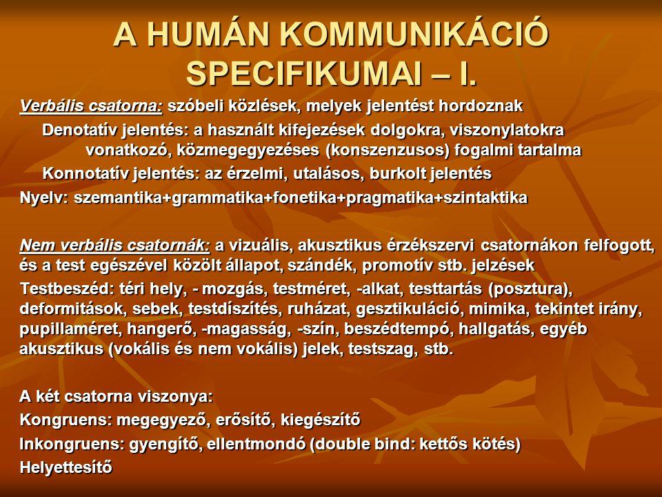 A HUMÁN KOMMUNIKÁCIÓ SPECIFIKUMAI – I.
