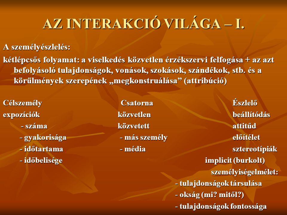AZ INTERAKCIÓ VILÁGA – I.