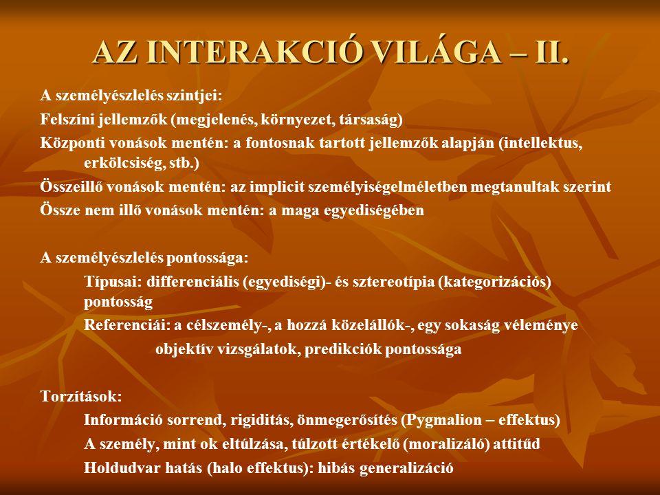 AZ INTERAKCIÓ VILÁGA – II.